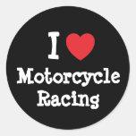 Amo el personalizado del corazón de la motocicleta pegatina redonda