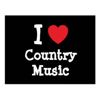 Amo el personalizado del corazón de la música coun postales