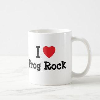 Amo el personalizado del corazón de la roca de taza básica blanca