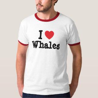 Amo el personalizado del corazón de las ballenas playera