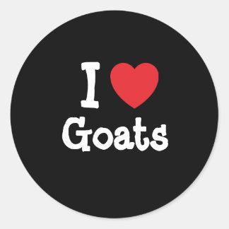 Amo el personalizado del corazón de las cabras pegatinas redondas