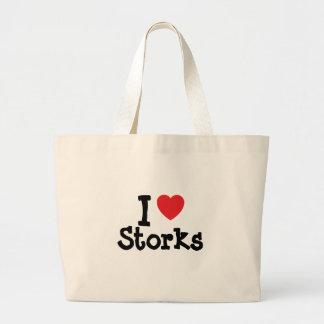 Amo el personalizado del corazón de las cigüeñas p bolsas