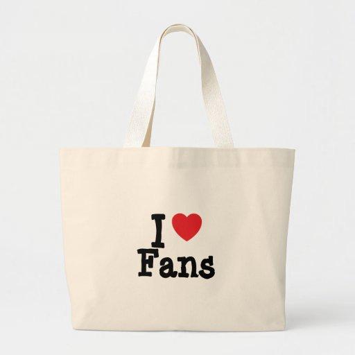 Amo el personalizado del corazón de las fans perso bolsas de mano