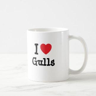Amo el personalizado del corazón de las gaviotas p tazas