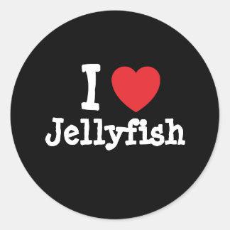 Amo el personalizado del corazón de las medusas pe etiqueta