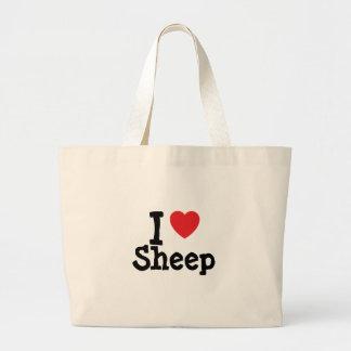 Amo el personalizado del corazón de las ovejas per bolsa tela grande