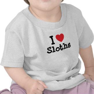 Amo el personalizado del corazón de las perezas camisetas