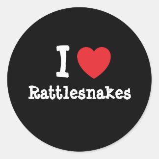 Amo el personalizado del corazón de las serpientes pegatina redonda