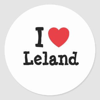 Amo el personalizado del corazón de Leland Pegatina Redonda