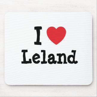 Amo el personalizado del corazón de Leland persona Tapete De Ratones