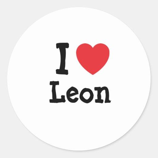 Amo el personalizado del corazón de León Pegatina Redonda