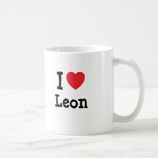 Amo el personalizado del corazón de León personali Tazas