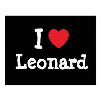 Amo el personalizado del corazón de Leonard person Postales