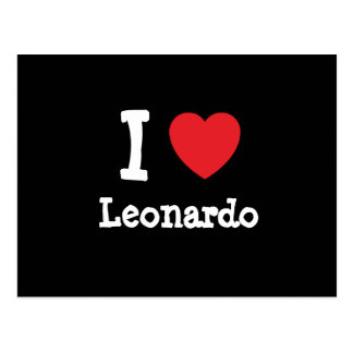 Amo el personalizado del corazón de Leonardo perso Postal