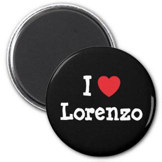 Amo el personalizado del corazón de Lorenzo person Imán Redondo 5 Cm