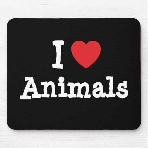 Amo el personalizado del corazón de los animales p alfombrilla de ratones