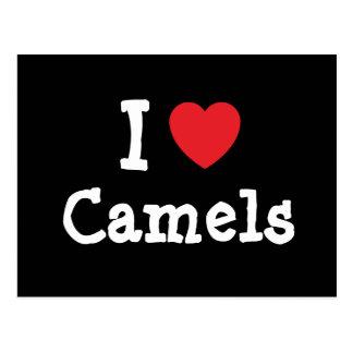 Amo el personalizado del corazón de los camellos p tarjeta postal