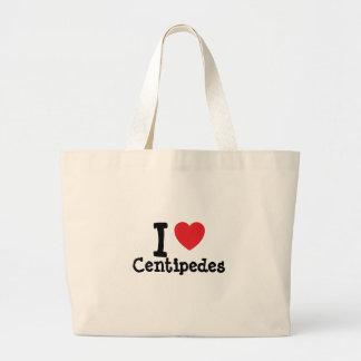 Amo el personalizado del corazón de los ciempiés p bolsa de mano
