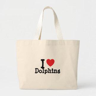 Amo el personalizado del corazón de los delfínes p bolsas