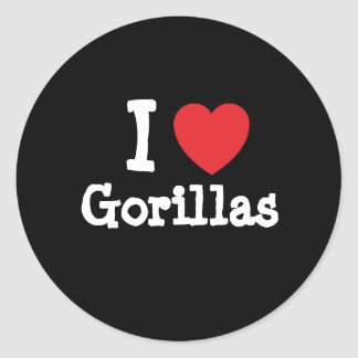 Amo el personalizado del corazón de los gorilas pegatina redonda