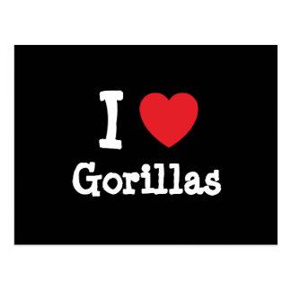 Amo el personalizado del corazón de los gorilas tarjeta postal