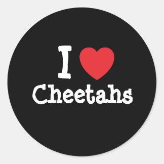 Amo el personalizado del corazón de los guepardos pegatina redonda