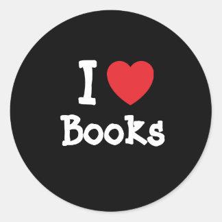 Amo el personalizado del corazón de los libros etiquetas redondas