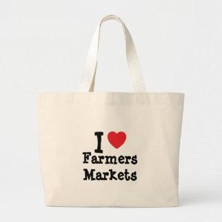 Amo el personalizado del corazón de los mercados d bolsas de mano