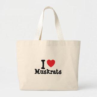 Amo el personalizado del corazón de los Muskrats p Bolsas