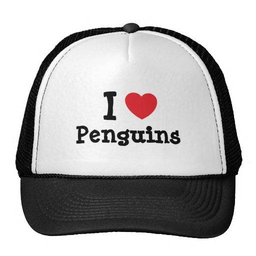 Amo el personalizado del corazón de los pingüinos  gorras