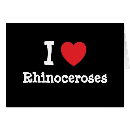 Amo el personalizado del corazón de los rinoceront tarjeton