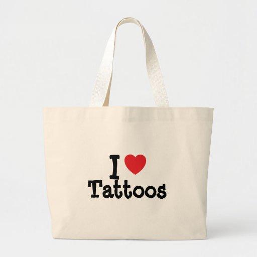 Amo el personalizado del corazón de los tatuajes p bolsa tela grande