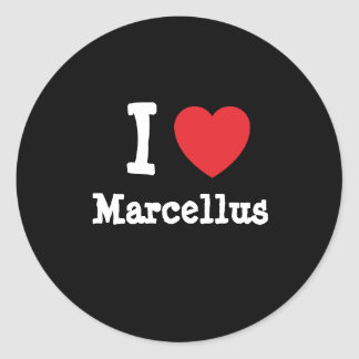Amo el personalizado del corazón de Marcelo Pegatina Redonda