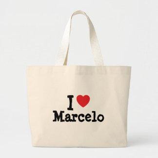 Amo el personalizado del corazón de Marcelo person Bolsa Lienzo