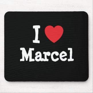 Amo el personalizado del corazón de Marcelo person Alfombrilla De Ratón