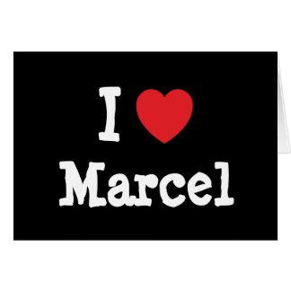 Amo el personalizado del corazón de Marcelo person Felicitación