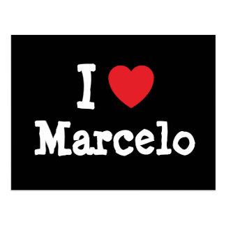 Amo el personalizado del corazón de Marcelo person Postal