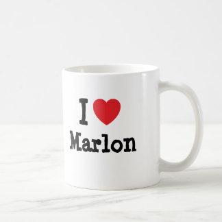 Amo el personalizado del corazón de Marlon persona Tazas De Café