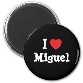 Amo el personalizado del corazón de Miguel persona Imán Redondo 5 Cm