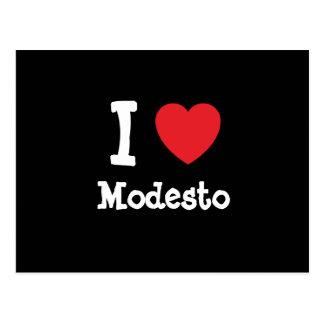 Amo el personalizado del corazón de Modesto person Postales