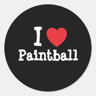 Amo el personalizado del corazón de Paintball Etiqueta Redonda