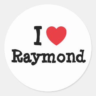 Amo el personalizado del corazón de Raymond Pegatina Redonda