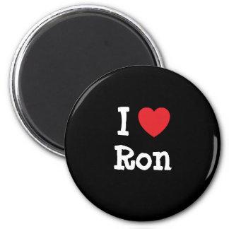 Amo el personalizado del corazón de Ron personaliz Imán Redondo 5 Cm