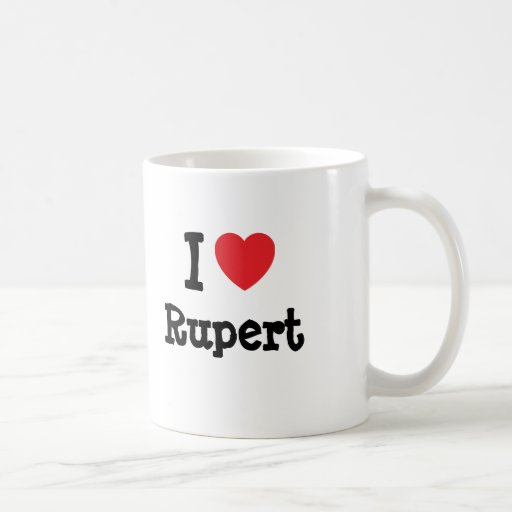 Amo el personalizado del corazón de Rupert Taza Clásica