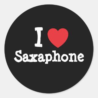 Amo el personalizado del corazón de Saxaphone Etiqueta Redonda