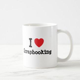 Amo el personalizado del corazón de Scrapbooking Taza Básica Blanca