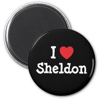 Amo el personalizado del corazón de Sheldon person Imán Redondo 5 Cm