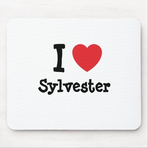 Amo el personalizado del corazón de Sylvester pers Tapetes De Ratones