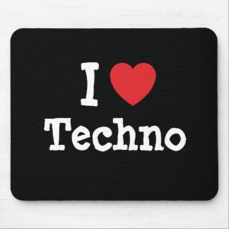 Amo el personalizado del corazón de Techno persona Alfombrilla De Raton