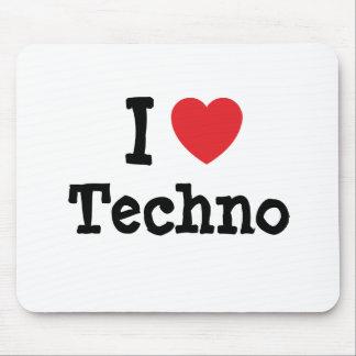 Amo el personalizado del corazón de Techno persona Tapete De Ratón